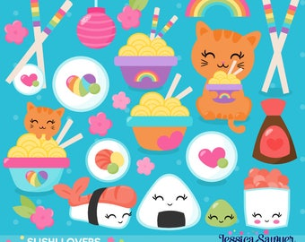 INSTANT DOWNLOAD, sushi clipart for planner stickers, crafts, and projects