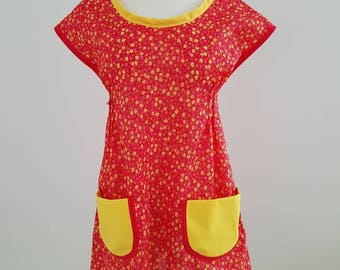 Red yellow floral tunic top dress x small