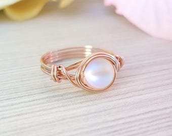 Rose Gold Wire Ring, Aurora Borealis Ring, Wire Wrapped Jewelry Handmade, Holographic Ring