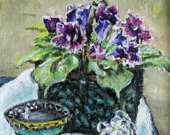 """Fine Art 5 X 5 Original Oil Still Life  Framed Painting """"Gloxinia"""""""