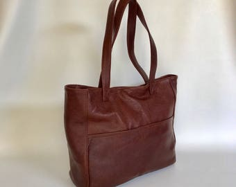 Brown Leather Tote Bag, Large Handbag, Casual Carryall Purse, Fashion Shoulder Handbags, Woman Handmade Purses, Jessy