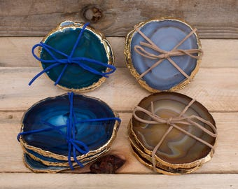 Gold Plated Agate Coasters