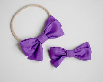 Purple Piper bow headband or clip