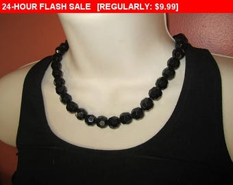 Vintage black bead choker necklace