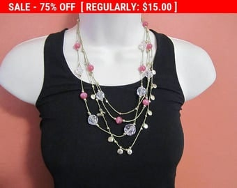 SALE pink bead multi strand necklace, statement necklace, hippie, boho, estate jewelry