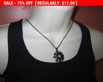 SALE NY rhinestone pendant necklace, statement necklace, retro, hippie