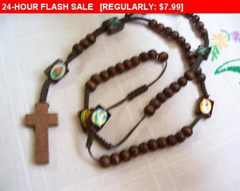Wood rosary for use or repurpose, estate jewelry, retro
