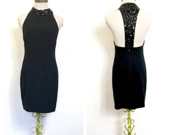 Racer Back Vintage 80's Black Dress Party Dress Halter Dress Sequin Sexy 80's Dress 80's Mini Dress Sleeveless Formal Dress Prom Small I