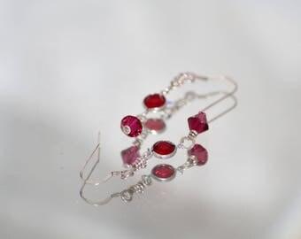 Ruby Red Crystal Earrings
