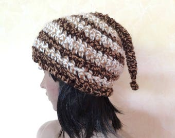Crocheted hat with tail for women with light brown, Brown and white hat wool