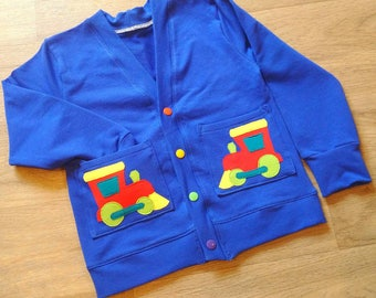 Train applique cardigan, baby and child
