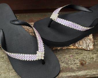 Super Bling Havaianas Flip Flops or Wedge 1.5 Heel w/ Violet Purple Swarovski Crystal 3D Ice Cap 13 Color Silver Wedding Beach Bridal Shoes