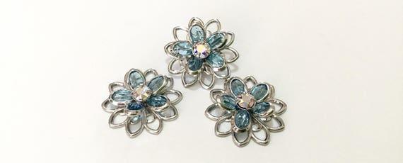 Swarovski Sterling Silver or Hypoallergenic Titanium Stud Earring Filigree Light Azore Ice Blue AB Flower Rhinestone Piercing Ladies Gift