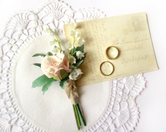 Wedding Boutonniere, Grooms Flower, Lily of Valley, Pale Pink Rose, Rose Buttonhole, Wedding Ceremony, Groomsmen, Lapel Flower, Romantic