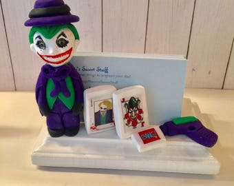 Polymer clay Joker business card holder, gift idea, Batman fan, collector, comic book owner, video game business owner,