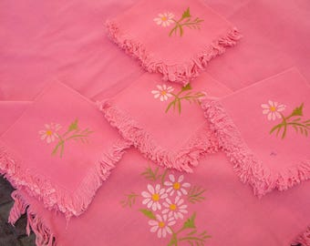 "Tablecover with 4 napkins, tablecloth set, Tea linens, hand painted flowers, fringe edges, cottage chic decor, 33"" Square, table topper,"