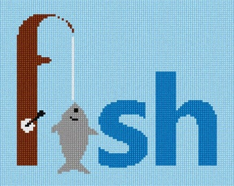Needlepoint Kit or Canvas: Go Fish Word