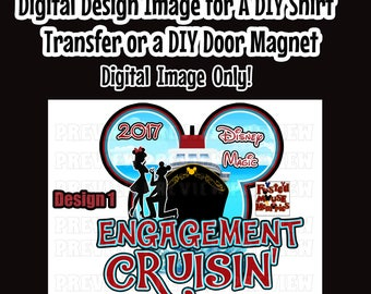 Printable Disney Couple Engagement Cruise Shirt Transfer Just Engaged Cruise Door Magnet Just Engaged Shirt Iron On DIY Disney Cruise shirt
