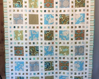 Modern Square Blue & Green Twin/Full Quilt