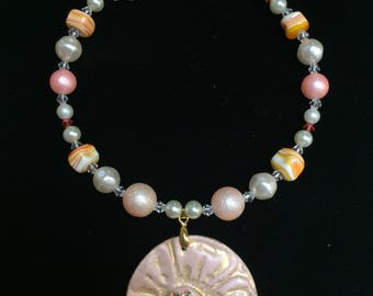 Blush Memory Wire Beaded Necklace