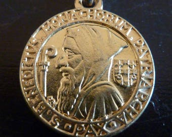 Vintage  French Catholic Medal  Saint  Benedict Benedictus Exorcism Signed F.PY  Old Pendant Charm jewelry