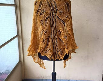 Hand knitted gold shawl