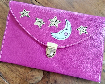 Moon and stars glittery clutch handbag/ gold and silver handbag/ pink leather statement clutch