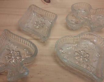 Vintage Indiana Glass Company POKER Card Suit Clear Glass Nut Bowls / Ashtrays / Penny Holders in Excellent Condition!