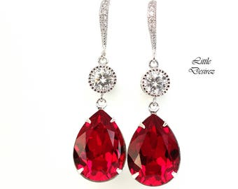Red Earring Red Jewelry Holiday Jewelry Swarovski Crystal Siam Dark Red Earrings Cubic Zirconia Rhodium Plated Garnet Ruby Crimson SI31HC