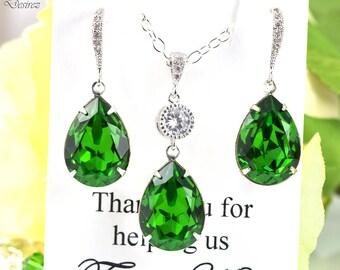Green Earrings Bright Green Earrings Bridesmaid Earrings Swarovski Crystal Fern Green Teardrop Earrings Sparkly Bridal Wedding Earring FG31H