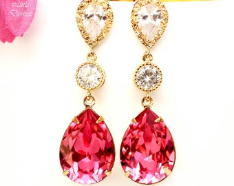 Pink Bridal Earrings Gold Earrings Fuchsia Earrings Hot Pink Earrings Swarovski Stone Cubic Zirconia Bridesmaid Earrings Dark Pink RP31PC