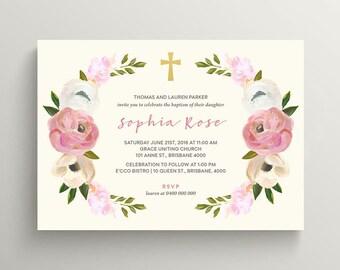 Printable Christening, Baptism, Holy Communion Invitation  \ Girl Invitation \ Floral  Invitation on Cream Background (CR57)