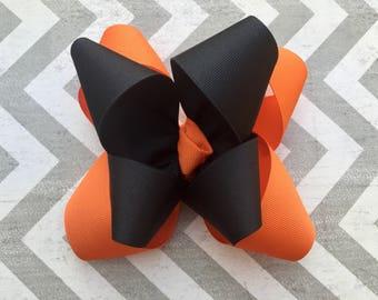 Orange and Black Halloween Hair Bow
