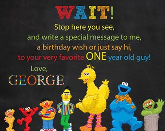 Sesame Street BIRTHDAY SIGN-IN Sign, Sesame Street Birthday sign-in Board, Zoe, Elmo, Ernie, Bert, Cookie Monster, Big Bird, Oscar Grouch