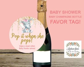 POP IT when She Pops BABY Champagne Bottle Favor Tag, Customized Digital Printable, Baby Shower Champagne Bottle Tag, 3 in Circle Favor Tags