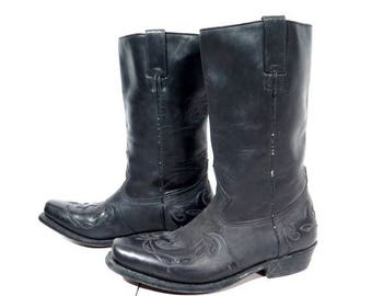 25% OFF Vintage Boots / Leather Boots / Buffalo Boots / Black Leather Boots / Western Boots / Biker Boots / Cowboy Boots / Man Boots - Size