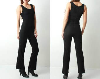 90s Black Jumpsuit / Sleeveless Jumpsuit / Woman Jumpsuit / Stretchy Jumpsuit / Cat Suit / Vintage Jumpsuit / Medium Jumpsuit / Black Suit