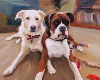 Custom Dog Portrait - Personalized Art Pet Painting From Photo