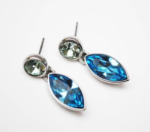 Givenchy Blue Green Rhinestone earrings - dangle crystal - pierced earrings
