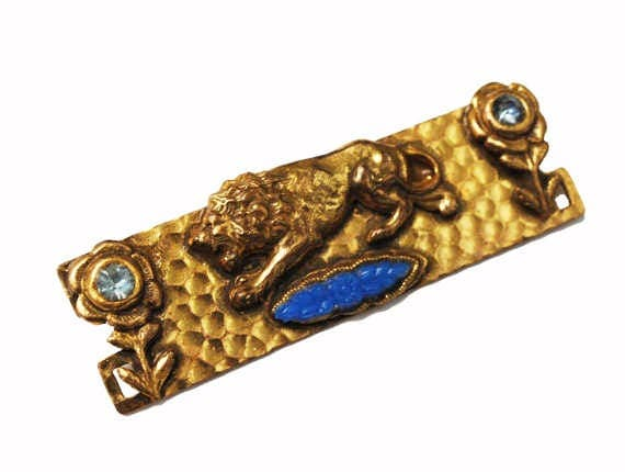 Gold Lion Bar Brooch - Blue rhinestone - Flower art glass - C clasp - Vintage Artisan pin - Art Nouveau