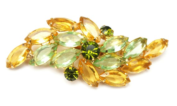Rhinestone Bar Bow Brooch - open work gold setting - Green yellow Crystal - Orange Glass - Floral pin