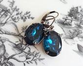 Blue Zircon Rhinestone Earrings, Teal Earrings, Boho Chic Earrings, Rhinestone Earrings, Bridal Earrings, Vintage Rhinestone Earrings