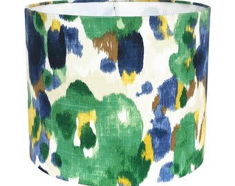 Drum Lamp Shade, Fabric Lampshade, Blue and Green Lamp Shade,  Landsmeer by Robert Allen in Ultramarine, Table Lampshade, Custom Lamp Shade