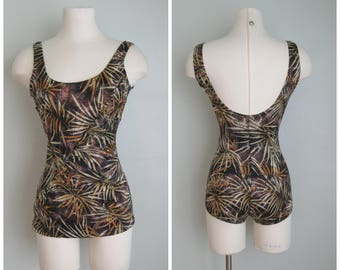 1980's Palm Frond One Piece Bathing Suit// Tropical// Bronze