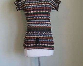 Summer Clearout Vintage Tribal Knit sweater// Autumnal// Drawstring