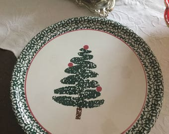 "Vintage Furio Italy/Italian Pottery Christmas Tree 13"" Round Platter/Plate-Cake/Cookies/Serving-Holiday"