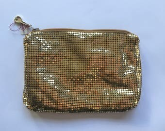 Vintage Whiting and Davis Gold Mesh Clutch Purse | 1970s Gold Tone Evening Bag