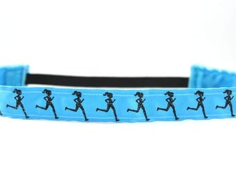 Running Girl Headband, Gift for Runners, Glitter Nonslip Headband, Run Like A Girl, Running Gift, Love to Run, Activewear, Marathon Headband