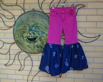 Little Girls Funky Upcycled Jeans size 6-7  Kids Bell Bottom Jeans