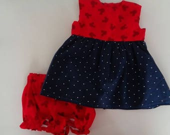 Red and blue minnie dress mouse  4th of July girls clothing dress and diaper cover